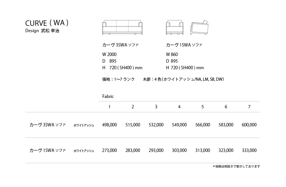 CURVE_WA Price List